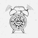 Hand draw Alarm clock illustration with lettering about Better now then never concept. Time reminder in sketched alarm Stock Photo