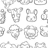Hand draw of animal head doodles Royalty Free Stock Image