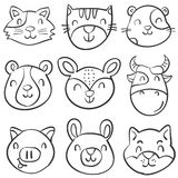Hand draw animal head style doodles Stock Image