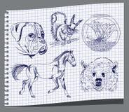 Hand draw animals Stock Photography