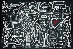 Hand draw Arrow set. Doodle sketchy chalkboard Royalty Free Stock Photos
