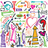 Hand draw Arrow set.Doodle vector Stock Image