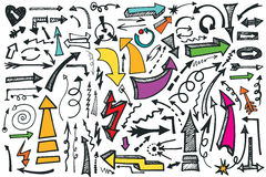 Hand draw Arrows set. Colored Doodle vector Royalty Free Stock Photo