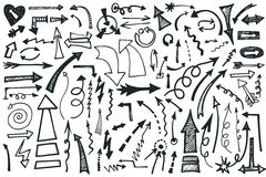 Hand draw Arrows set. Doodle vector Royalty Free Stock Image