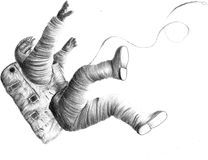 Hand draw astronaut. Space black and white Royalty Free Stock Image