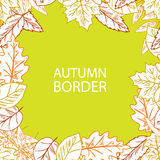 Hand Draw Autumn Leaf Border Stock Images