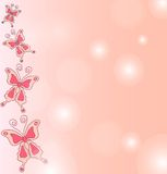 Hand draw background of pink butterflies. Stock Photos
