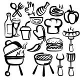 Hand draw barbecue. Vector hand drawn barbecue icons set on white Stock Photo