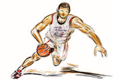 Hand draw basketball player Stock Photos