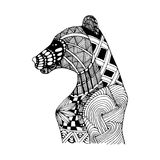 Hand draw bear patterns in the style of zentangle Stock Image
