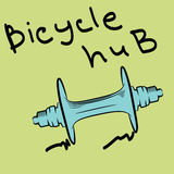 Hand draw bicycle hub. Hand drawn bicycle hub with a hand drawn text Stock Image