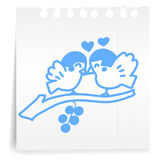 Bird love on paper Note Stock Photography