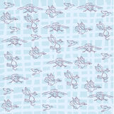 Hand draw of bird pattern on blue background Stock Photos