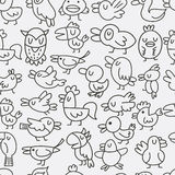 Hand draw bird seamless pattern Stock Photos