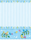 Hand draw birds on striped blue background Stock Photos