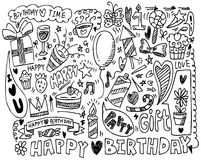 Hand draw birthday element Stock Photography