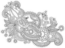 Hand draw black and white line art ornate flower Royalty Free Stock Image