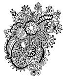 Hand draw black and white line art ornate flower Stock Photography