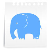 Blue Elephant on paper Note. Hand draw blue Elephant cartoon_on paper Note Royalty Free Stock Photo
