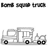 Hand draw of bomb squad truck Royalty Free Stock Image