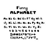 Hand draw brush alphabet letters and numbers. Hand draw brush alphabet letters under the classical bias, to design greeting cards, posters, banners, labels for Stock Image