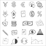 Hand draw business finance doodle sketch money. Icon, dollar euro sign graph, chart Stock Photo