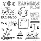 Hand draw business finance doodle sketch money. Icon, dollar euro sign graph, chart Stock Image