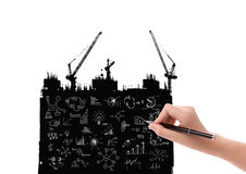 Hand draw business graph on Silhouette of crane working Stock Photography