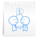 Businessman check hand cartoon_on paper Note Royalty Free Stock Photos