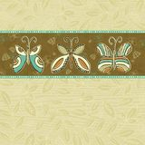 Hand draw  butterflies on  beige background Stock Image