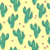 Hand draw cactus seamless pattern on isolated white background. Ð¡ontinuous line drawing. royalty free illustration