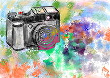 Hand draw camera Stock Photos