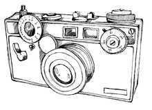 Hand draw camera illustration. Retro camera illustration for t-shirt prints Royalty Free Stock Photos