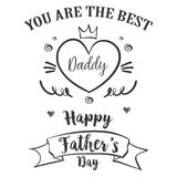 Hand draw card for father day. Vector illustration Stock Image