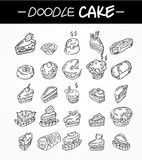 Hand draw cartoon cake icons set Stock Photo