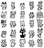 Hand draw cartoon cat icon stock images