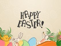 Hand draw cartoon character of cute bunny and carrot with stylish text of Happy Easter on retro style gray background. Hand draw cartoon character of cute bunny vector illustration