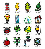 Hand draw cartoon eco icons. Illustration Royalty Free Stock Image
