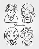 Hand draw cartoon family icon Stock Photo