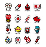 Hand draw cartoon Medical and Hospital icons set Stock Photos