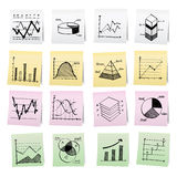 Hand draw cartoon on paper note stickers. Royalty Free Stock Images