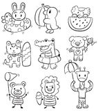 Hand draw cartoon summer animal icon. Drawing stock illustration