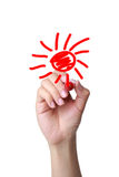 Hand draw the cartoon sun Royalty Free Stock Photo