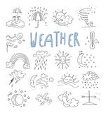 Hand draw cartoon weather events doodle icons. Set Royalty Free Stock Photo