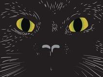 Hand draw cat muzzle. Eyes in dark night Stock Photos