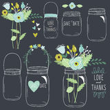 Hand Draw Chalkboard retro Mason Jar Stock Images