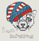 Hand draw cheetah in a USA hat. Vector illustration Royalty Free Stock Photography