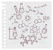 Hand draw chemistry on background. Vector illustration of Hand draw chemistry on background Royalty Free Stock Photo