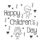 Hand draw childrens day collection stock Stock Image