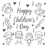 Hand draw childrens day style Royalty Free Stock Photo